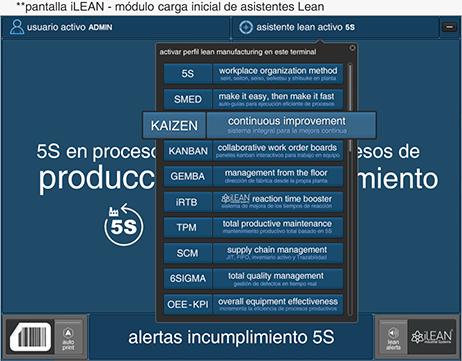 pantalla iLEAN - módulo carga inicial de asistentes Lean