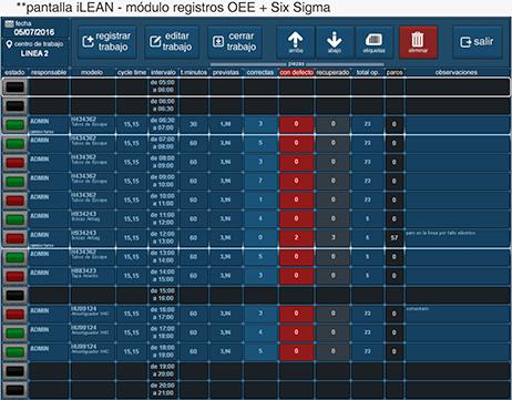 pantalla iLEAN - módulo registros OEE + 6 Sigma